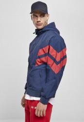 Pánska bunda URBAN CLASSICS Crinkle Panel Track Jacket darkblue/cityred #4