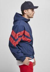 Pánska bunda URBAN CLASSICS Crinkle Panel Track Jacket darkblue/cityred #5