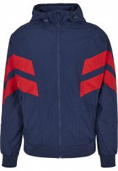 Pánska bunda URBAN CLASSICS Crinkle Panel Track Jacket darkblue/cityred #8