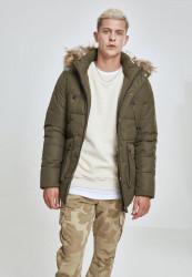 Pánska Bunda Urban Classics Faux Fur Hooded Jacket darkolive