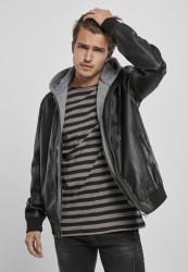 Pánska bunda Urban Classics Fleece Hooded Fake Leather black/grey