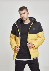Pánska bunda Urban Classics Hooded 2-Tone Puffer Jacket chromeyellow/blk