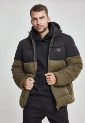Pánska bunda Urban Classics Hooded 2-Tone Puffer Jacket darkolive/black