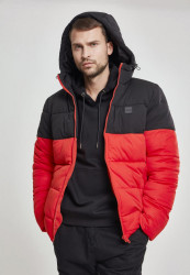 Pánska bunda Urban Classics Hooded 2-Tone Puffer Jacket firered/blk