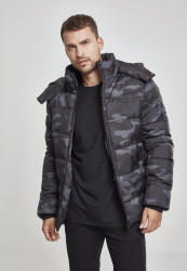 Pánska Bunda Urban Classics Hooded Camo Puffer Jacket darkcamo