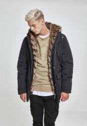 Pánska Bunda Urban Classics Hooded Faux Fur Parka black