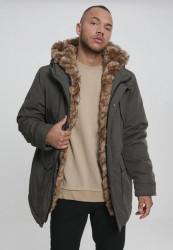 Pánska Bunda Urban Classics Hooded Faux Fur Parka darkolive