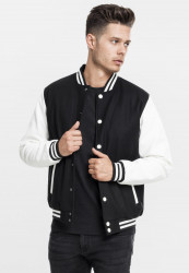 Pánska bunda URBAN CLASSICS Oldschool College Jacket blk/wht