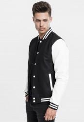 Pánska bunda URBAN CLASSICS Oldschool College Jacket blk/wht #1
