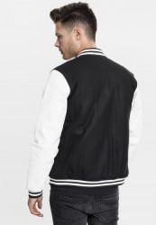 Pánska bunda URBAN CLASSICS Oldschool College Jacket blk/wht #2
