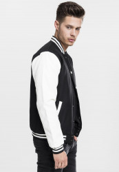 Pánska bunda URBAN CLASSICS Oldschool College Jacket blk/wht #3