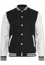 Pánska bunda URBAN CLASSICS Oldschool College Jacket blk/wht #4