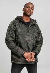 Pánska bunda Urban Classics Padded Camo Pull Over Jacket darkolive