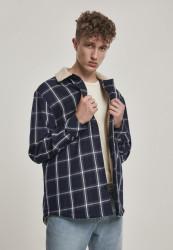 Pánska bunda Urban Classics Sherpa Lined Shirt Jacket navy/wht