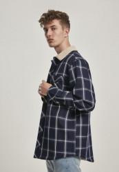 Pánska bunda Urban Classics Sherpa Lined Shirt Jacket navy/wht #1