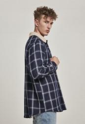 Pánska bunda Urban Classics Sherpa Lined Shirt Jacket navy/wht #3