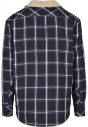 Pánska bunda Urban Classics Sherpa Lined Shirt Jacket navy/wht #5