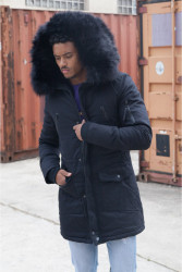 Pánska čierna bunda na zimu Sixth June Big Fur Parka