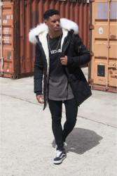 Pánska čierna bunda na zimu Sixth June Big Fur Parka #1