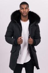 Pánska čierna bunda na zimu Sixth June Nylon Lining Fur Parka