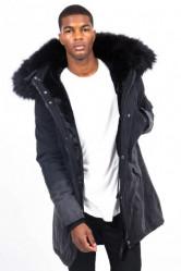 Pánska čierna bunda na zimu Sixth June Tie Dye Parka