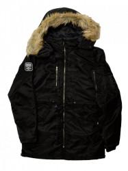 Pánska čierna bunda s kapucňou na zimu Dorko PARKA MEN