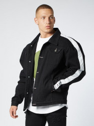 Pánska čierna riflová bunda 304 Clothing Bogata Farba: Čierna,