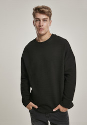 Pánska crewneck mikina URBAN CLASSICS Cut On Sleeve Naps Interlock Crew black