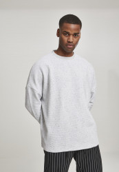 Pánska crewneck mikina URBAN CLASSICS Cut On Sleeve Naps Interlock Crew lightgrey