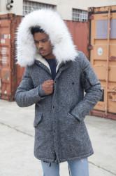 Pánska dlhá sivá bunda s kožušinovou kapucňou  Sixth