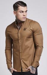 Pánska hnedá košeľa s dlhým rukávom Sik Silk Oxford