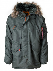 Pánska khaki bunda s kapucňou na zimu Dorko PARKA MEN
