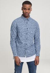Pánska košeľa s dlhým rukávom URBAN CLASSICS Printed Flower Denim Shirt