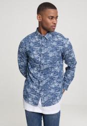 Pánska košeľa s dlhým rukávom URBAN CLASSICS Printed Palm Denim Shirt