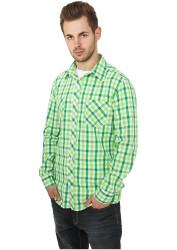 Pánska košeľa s dlhým rukávom URBAN CLASSICS Tricolor Big Checked Shirt cgr/wht/lgr