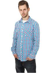 Pánska košeľa s dlhým rukávom URBAN CLASSICS Tricolor Big Checked Shirt pur/wht/tur