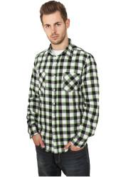 Pánska košeľa s dlhým rukávom URBAN CLASSICS Tricolor Checked Light Flanell Shirt blk/wht/lgr