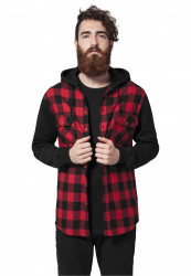 Pánska košeľa s kapucňou URBAN CLASSICS Hooded Checked Flanell Sweat Sleeve Shirt blk/red/bl