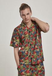 Pánska košeľa s krátkym rukávom URBAN CLASSICS Pattern Resort Shirt black/tropical