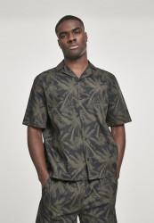 Pánska košeľa s krátkym rukávom URBAN CLASSICS Pattern Resort Shirt palm/olive