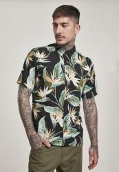 Pánska košeľa URBAN CLASSICS Blossoms Resort Shirt black/blossom