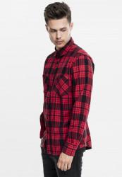Pánska košeľa URBAN CLASSICS Checked Flanell Shirt 2 redblk #1