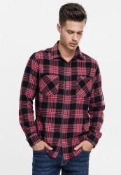 Pánska košeľa URBAN CLASSICS Checked Flanell Shirt 3 blk/gry/red