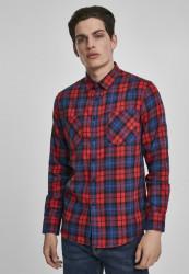 Pánska košeľa URBAN CLASSICS Checked Flanell Shirt 5 red/royal