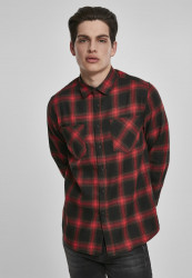 Pánska košeľa URBAN CLASSICS Checked Flanell Shirt 6 black/red