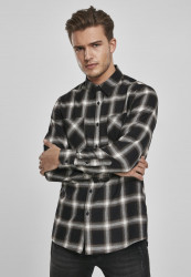 Pánska košeľa URBAN CLASSICS Checked Flanell Shirt 6 black/white