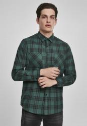 Pánska košeľa URBAN CLASSICS Checked Flanell Shirt 7 darkgreen/black