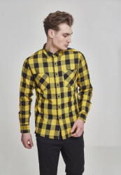 Pánska košeľa URBAN CLASSICS CHECKED FLANELL SHIRT blk/honey