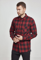 Pánska košeľa URBAN CLASSICS CHECKED FLANELL SHIRT blk/red