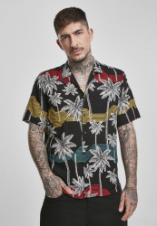 Pánska košeľa URBAN CLASSICS Palm Tree Resort Shirt black/palmtree